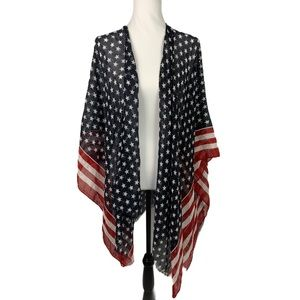 American Flag Wrap Shawl Cover Up Lightweight